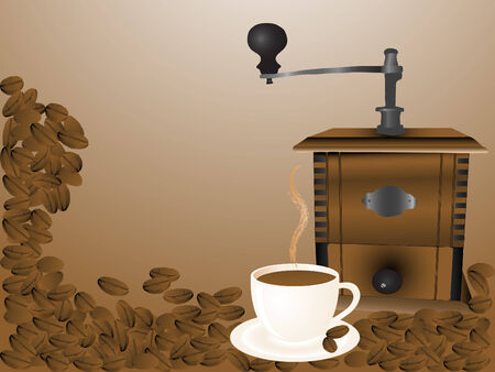 coffee mill: Coffee mill and cup - brown vector illustration Illustration