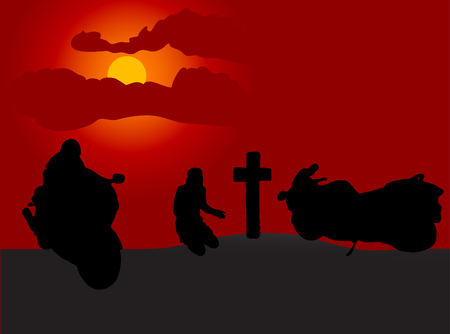 extremesport: Motorcyclist grave in the sunset Illustration