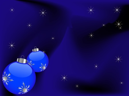 Blue christmas background with two balls Vector
