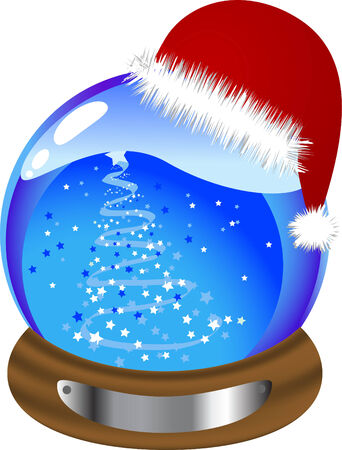 Christmas glass snow globe with christmas tree Vector