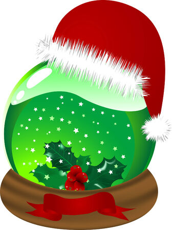 Christmas glass snow globe with holly berry Vector