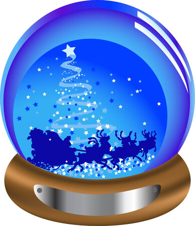 Christmas glass snow globe with santa Vector
