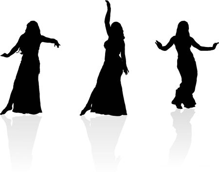 Three silhouettes of dancing girl Illustration