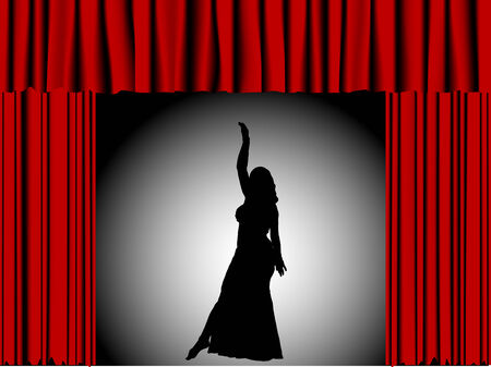 Silhouette of dancing girl in theater Stock Vector - 5484554