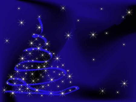Blue abstract background with christmas tree Vector