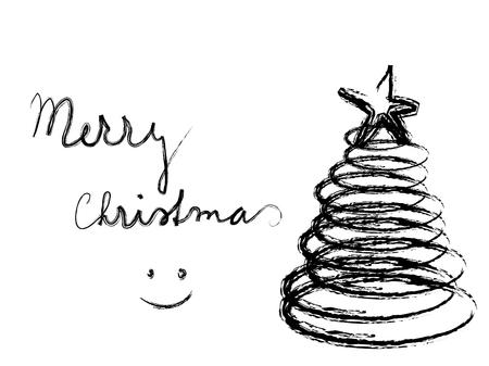 크리스마스 트리와 함께 흑백 추상적 인 배경 일러스트