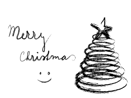 Black and white abstract background with christmas tree