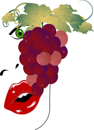 botany woman: Beauty woman eating bunch of grapes