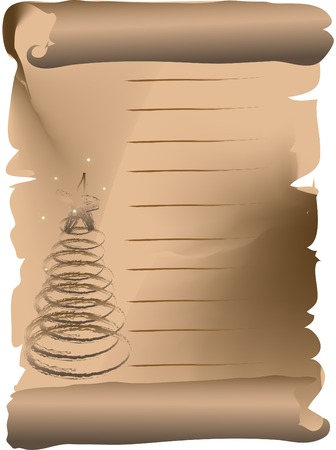Scroll with christmas tree - vector illustration Vector