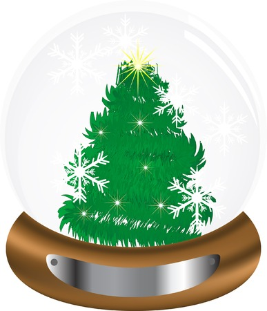 White snow globe with christmas tree Vector