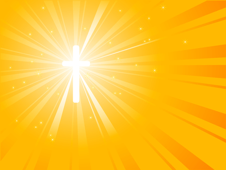 believer: Silhouette of cross with sunburst from his energy Illustration