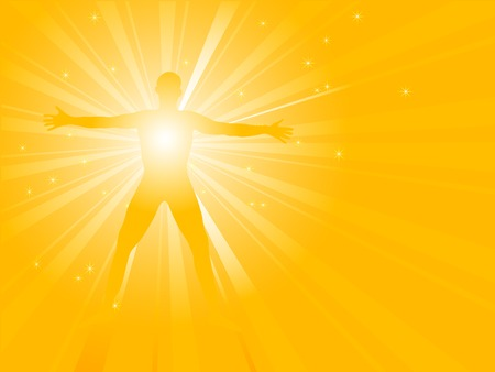 Silhouette of a man with sunburst from his energy Illustration