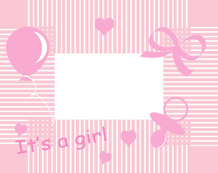 Baby girl arrival announcement card Stock Vector - 5539226