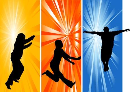 siluetas: Silhouettes of three jumping people Illustration