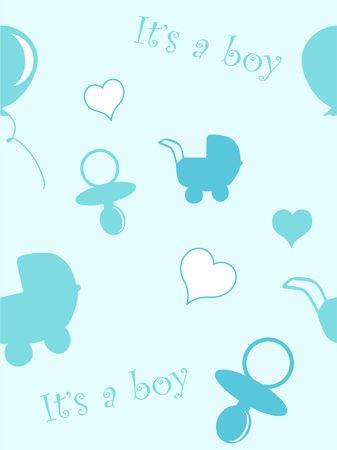 Baby boy pattern - vector background Vector