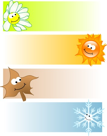 Four cards with seasonal icons Vector