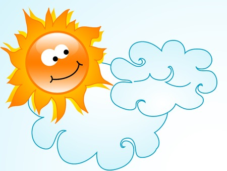 cartoon sun: Dom Cartoon con dos nubes