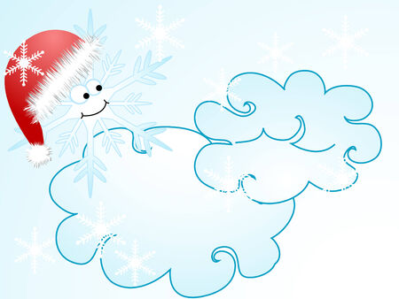 Snowflake with red santas hat Vector