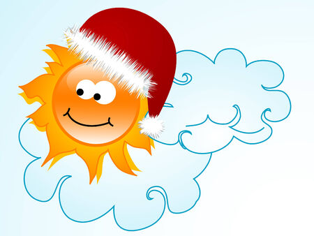 Sun with red santas hat Vector