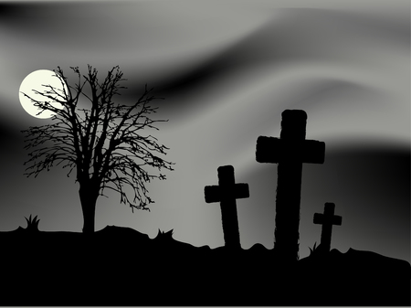 sentiment: Cemetery in the night - vector illustration