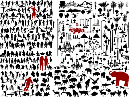 Hundreds mix silhouettes - vector illustration Vector