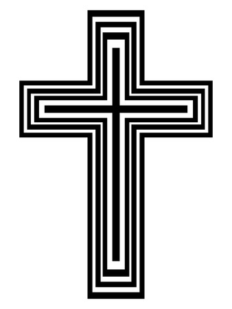 altar: Abstract black and white cross - vector illustration