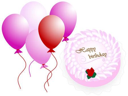 Happy birthday cake - vector illustration