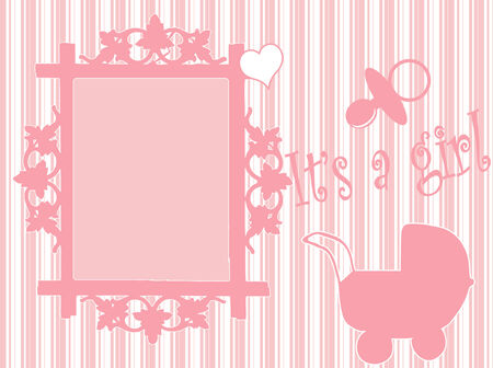 Card with photo frame for your baby girl Vector