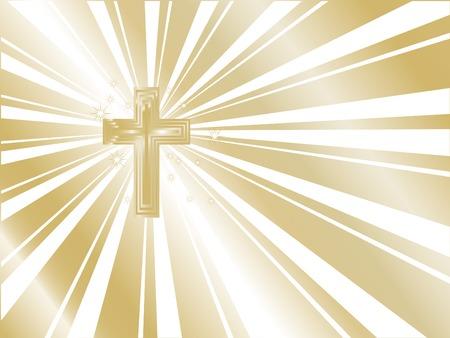 Golden cross and the sunburst Vector