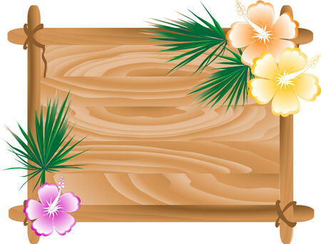 Wooden frame with hibiscus and palm tree leaves- vector illustration Vector