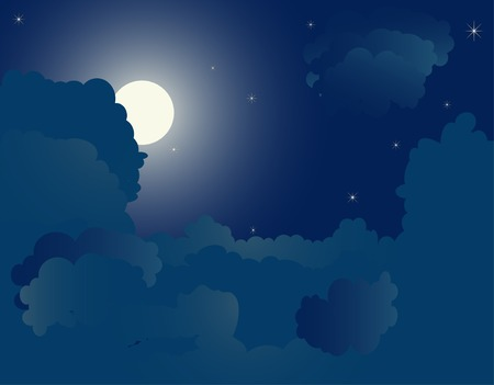 stormcloud: Blue night background - vector illustration