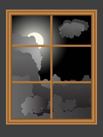 vista ventana: Vista desde la ventana - ilustraci�n vectorial