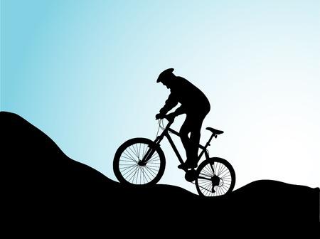 extremesport: Mountain bike in sunrise - vector