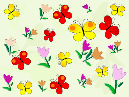 Beautiful pattern with flowers - vector illustration Stock Vector - 5617582