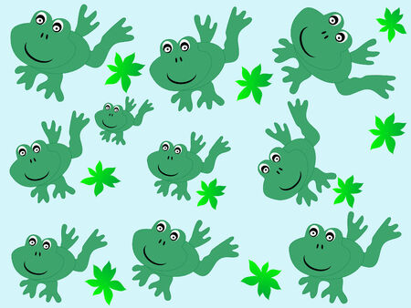 Beautiful pattern with frogs - vector illustration Vector