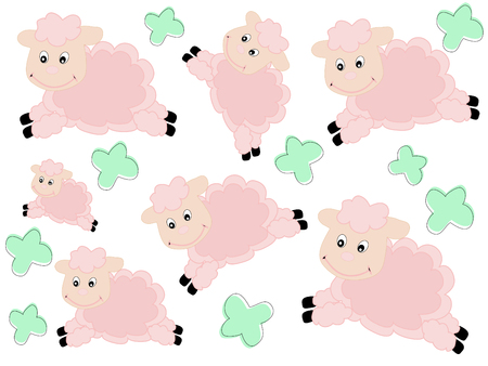 Beautiful pattern with lambs - vector illustration Vector