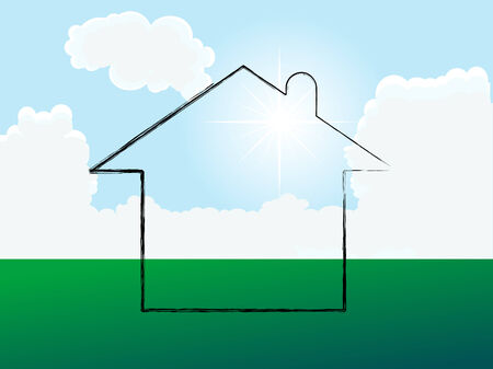 Home on the meadow - vector illustration Stock Vector - 5617570