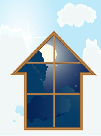 Home against the sky  - vector illustration Stock Vector - 5617593