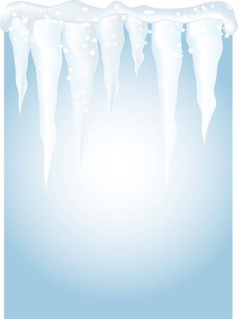 Winter background with icicles - vector illustration