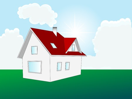 Home on the meadow - vector illustration Stock Vector - 5617602