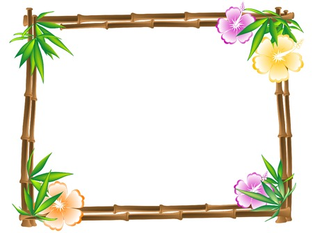 Bamboo frame with hibiscus and leaves Vector