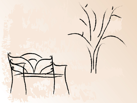 Bench and tree Vector