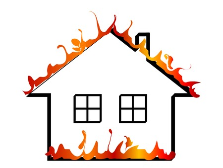 Burning home icon - vector illustration Stock Vector - 5655733