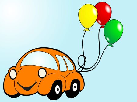 Orange car with balloons - vector illustration Vector