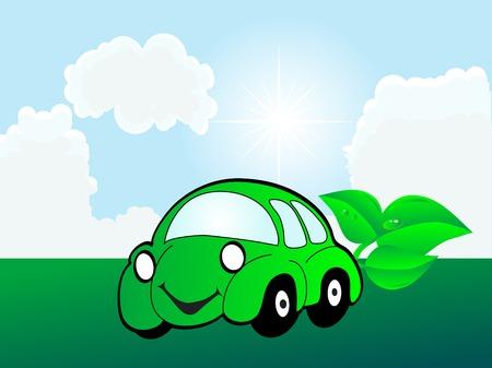 Ecology green car - vector illustration Vector