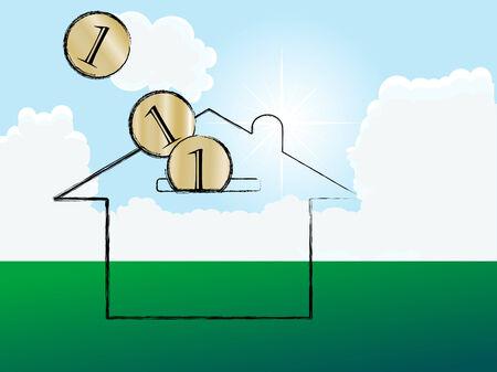 Casa en prado - ilustración vectorial