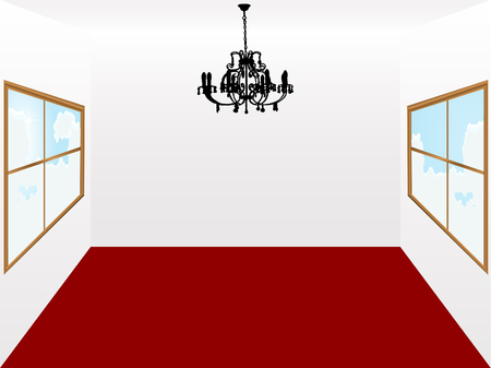 living room design: Chandelier and room with red carpet Illustration