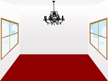 interior decorating: Lampadario e stanza con un tappeto rosso