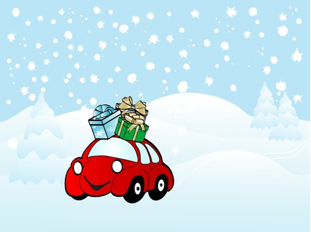 Cartoon christmas car - vector illustration Vector
