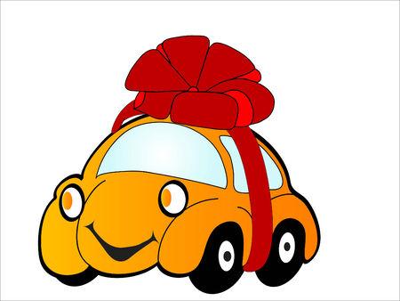 Cartoon car as a gift - vector illustration Vector